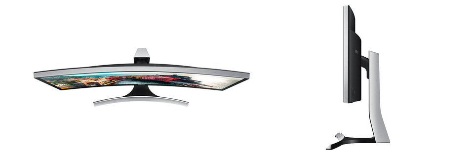 Der Samsung LS34E790C von oben und von der Seite.