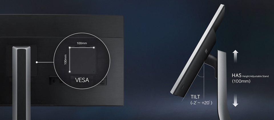 Samsung LS34E790C: Wandmontage und Neigung des Bildschirms ist möglich.