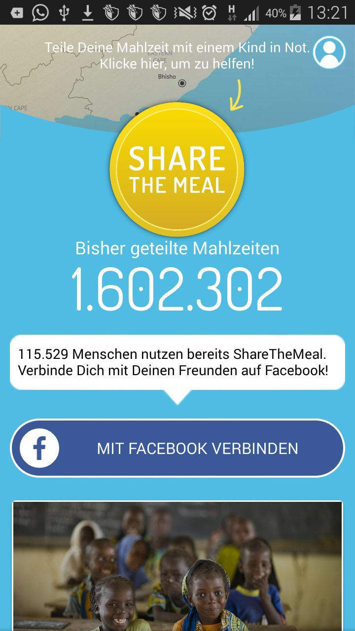 Sharethemeal app screenshot spenden button