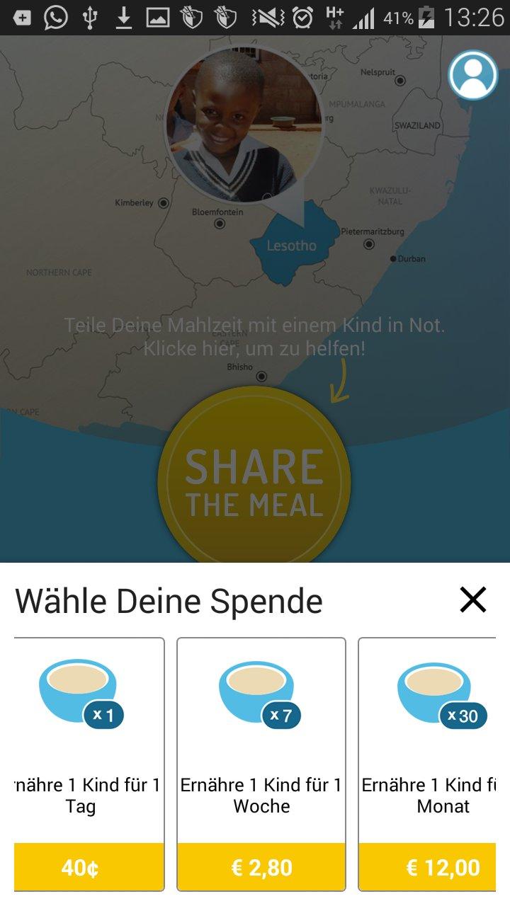 Wähle deine spende in der sharethemeal app