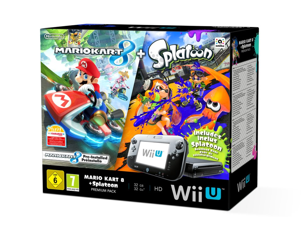 Wii U Splatoon Mario Kart 8 Bundle