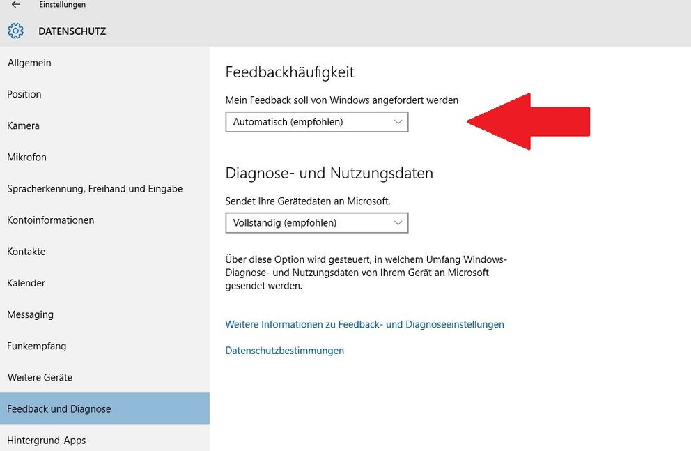 Windows 10 Feedback-Optionen