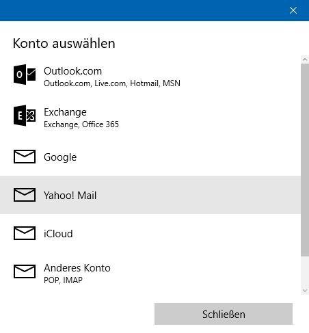 Windows 10 Mail Konto hinzufügen
