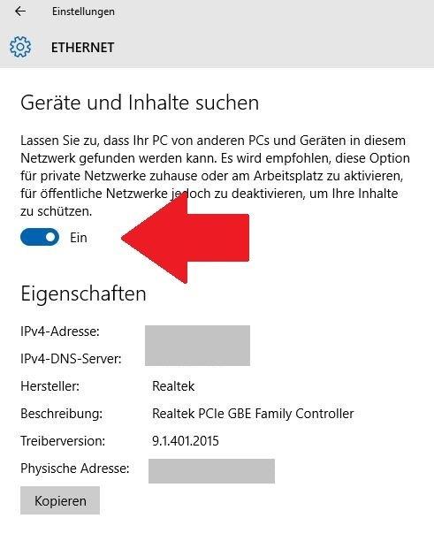 Windows 10 Netzwerkeinstellungen