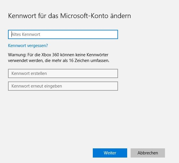 Windows 10 Passwort