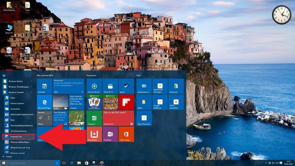 Windows 10 Snipping Tool finden