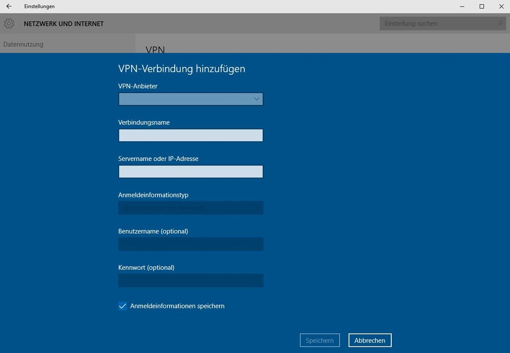 Windows 10 VPN-Verbindung