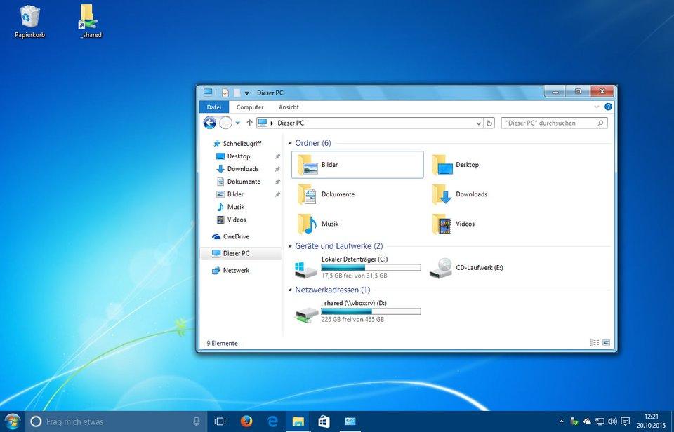 Windows 10 sieht wie Windows 7 aus.