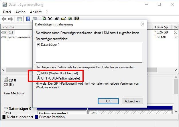 Partitionsstil: Windows fragt euch, ob die Festplatte mit MBR oder GPT eingerichtet werden soll.