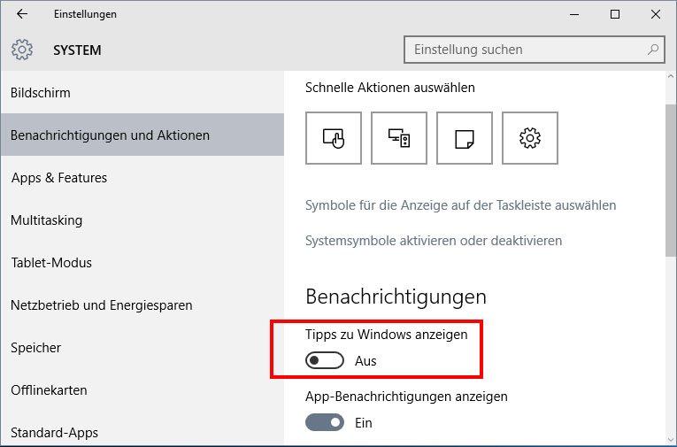 Die Anzeige von Tipps kann Windows 10 langsam machen.