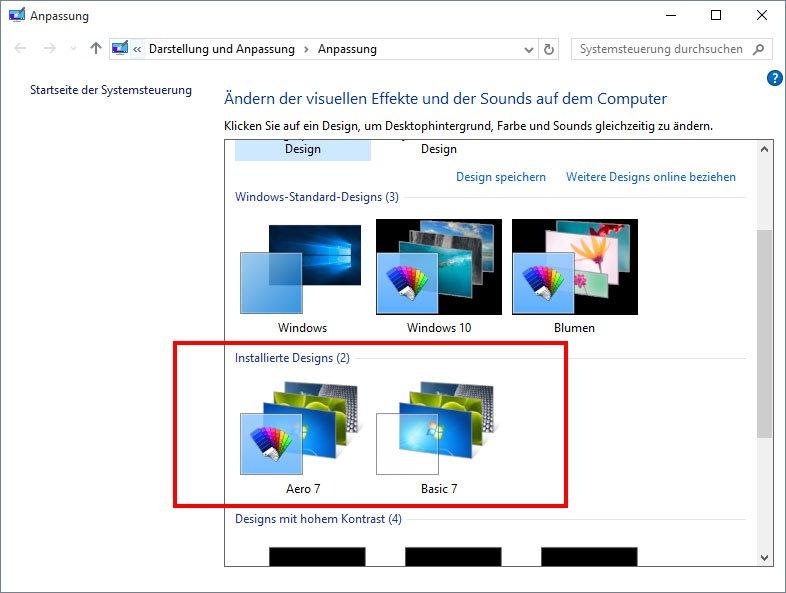 In der Design-Auswahl von Windows 10 tauchen jetzt die Windows-7-Themes auf.