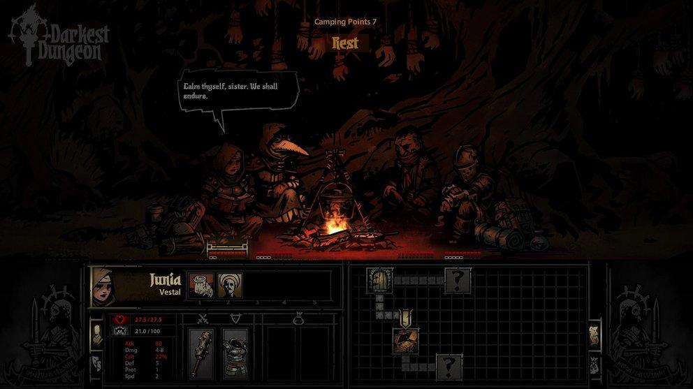 Darkest Dungeon: Regelmäßige Pausen sind von Wichtigkeit für die Psyche eurer Helden.