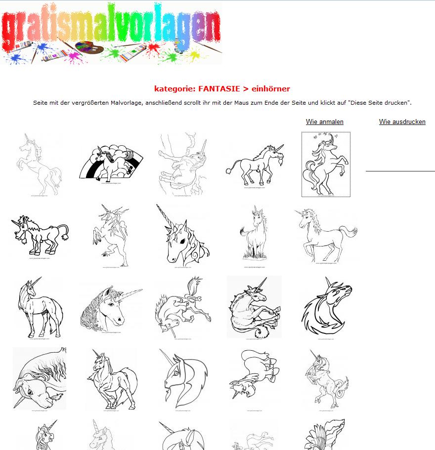 Einhorn-Malvorlagen zum Ausmalen kostenlos herunterladen