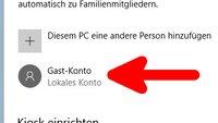 Windows 10: Gastkonto einrichten – so geht's