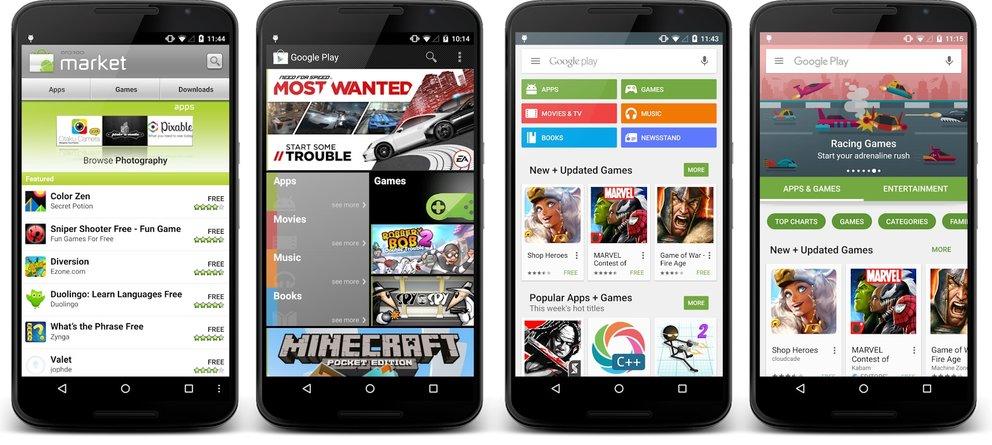 Von links nach rechts: Eine kleine Geschichte des Play Stores.