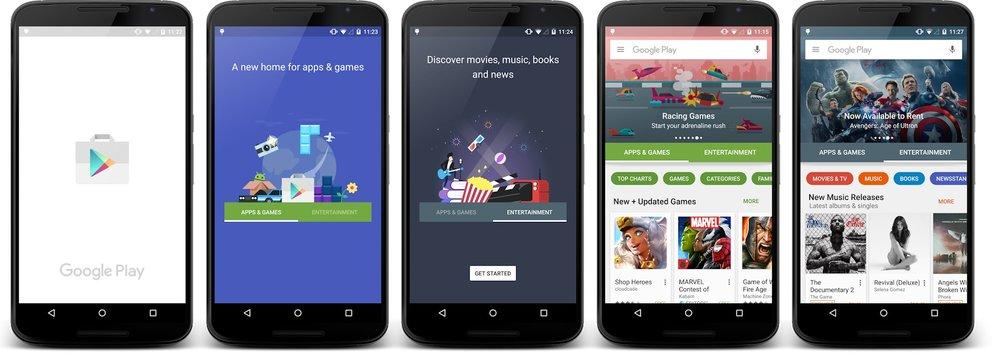 Der Google Play Store erhält einen Splash Screen, um die gefühlte Wartezeit zu verkürzen.