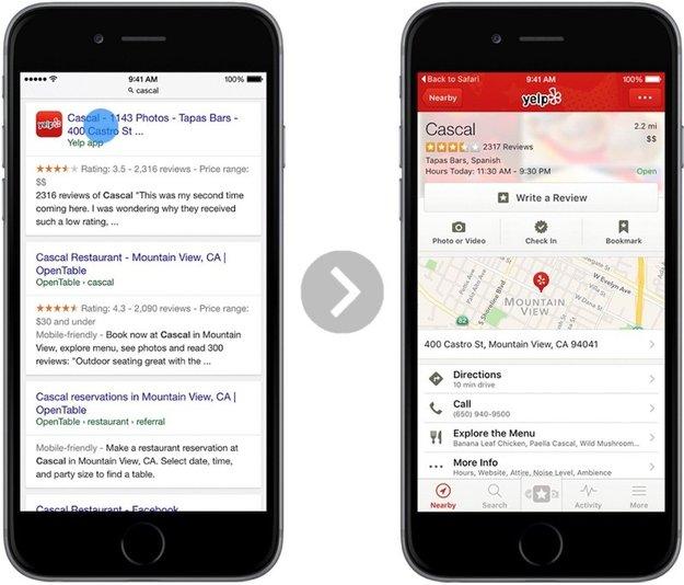 """iOS 9: """"Deep Links"""" in Google-Suche erlauben direktes Öffnen von Apps"""