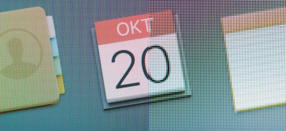iMac im Test: Retina-Auflösung links, Standard rechts.