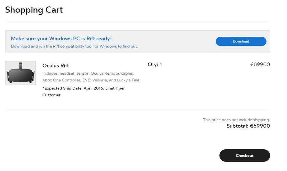 Die Oculus Rift kann vorbestellt werden, kostet mit 599 US-Dollar bzw. 699 Euro auch einen ordentlichen Batzen Geld.