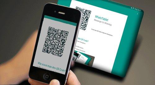 Scannt mit dem Handy den QR-Code auf dem Tablet. Bildquelle: whatstablet.com