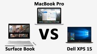 Surface Book vs. MacBook Pro 15'' vs Dell XPS 15 – Daten im Vergleich