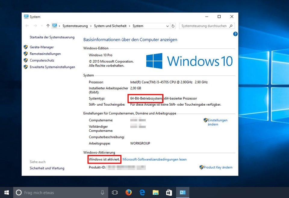 Windows 10 ist nach dem Wechsel in der 64-Bit-Version installiert und aktiviert.