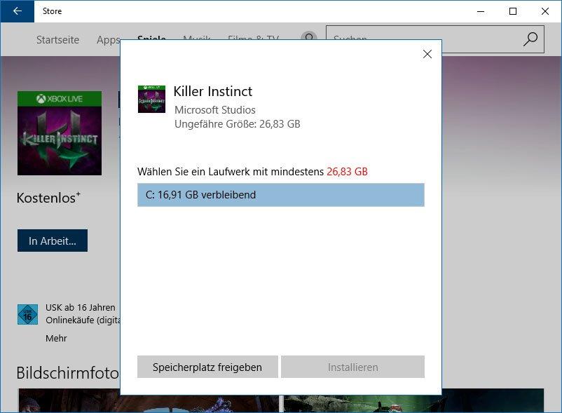 Windows 10 Store: Bei großen App-Installationen könnt ihr den Speicherort bestimmen