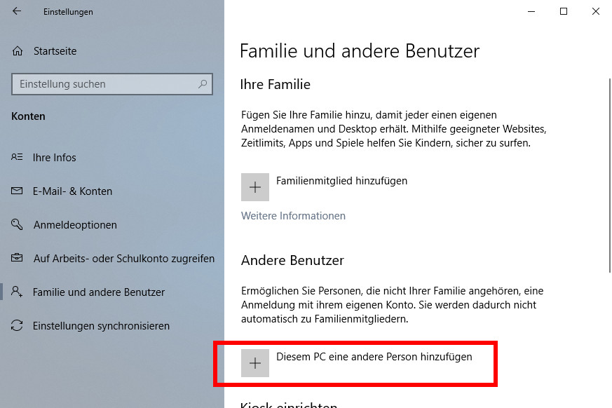 Gastkonto Windows 10