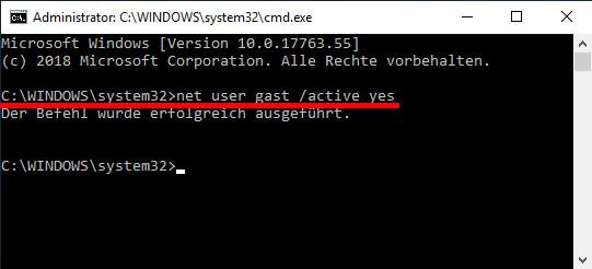 Windows 10 Gastkonto