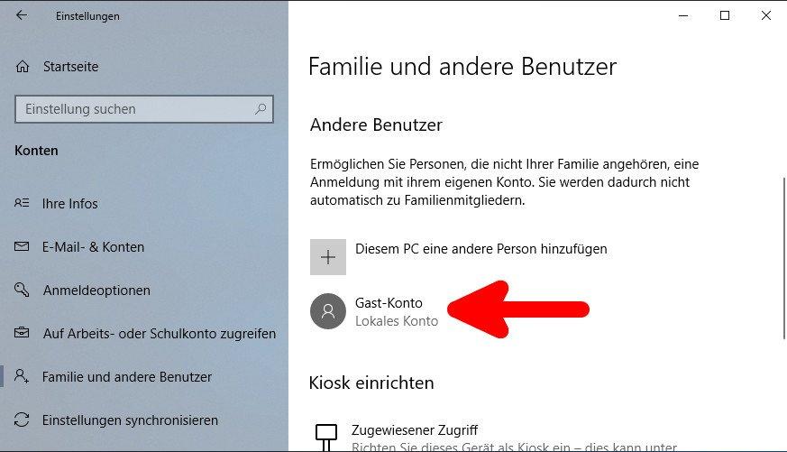 Windows 10 Gast Konto