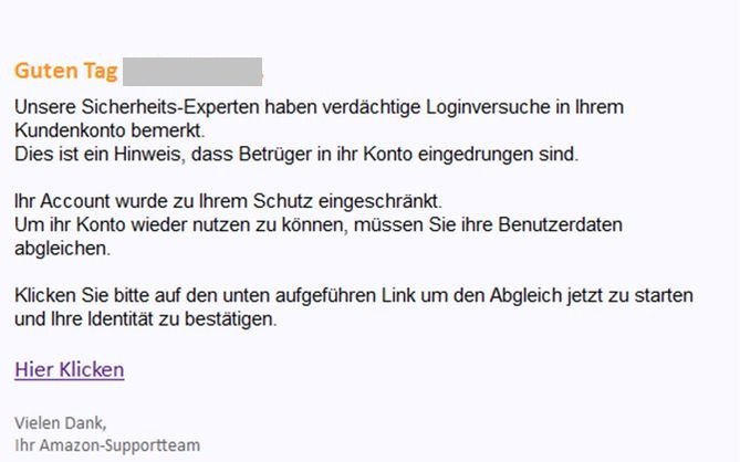 Amazon Kundeninformation Phishing