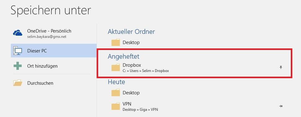 Office 2016 an Dropbox angeheftet