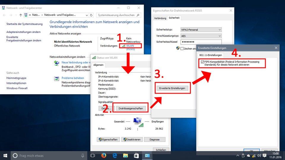 Windows 10: So aktiviert ihr die FIPS-Kompatibilität für euer Netzwerk.