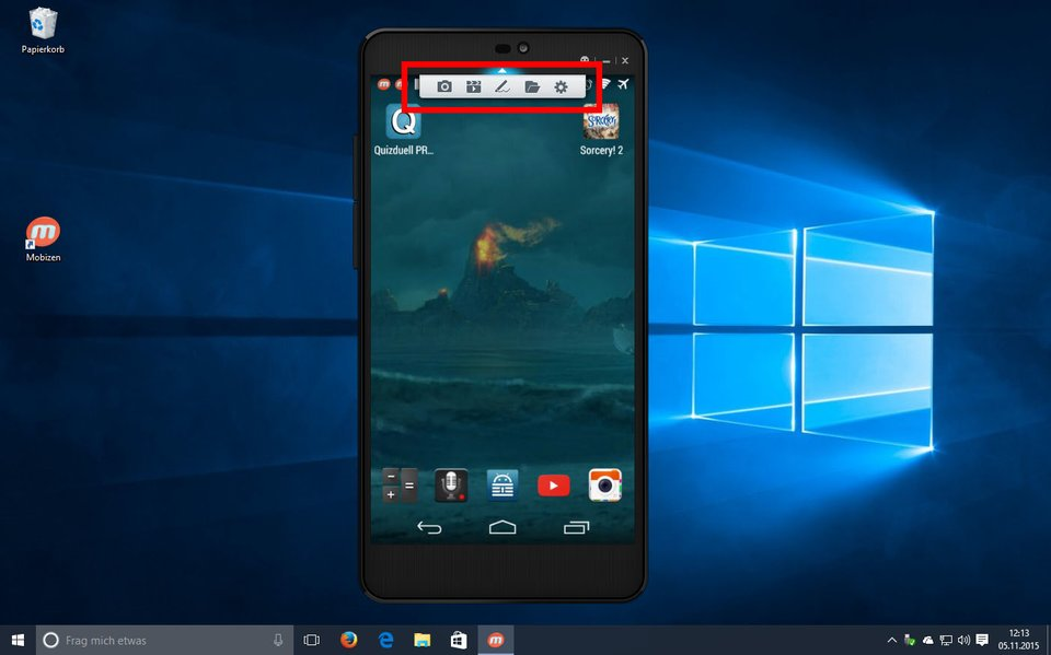 Mobizen: Über das kleine Menü könnt ihr den Android-Bildschirm am PC aufnehmen.