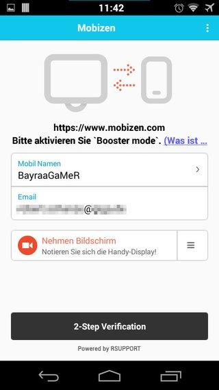 Die Mobizen-App ist bereit. Nun wird das Smartphone angeschlossen und mit dem PC verbunden.
