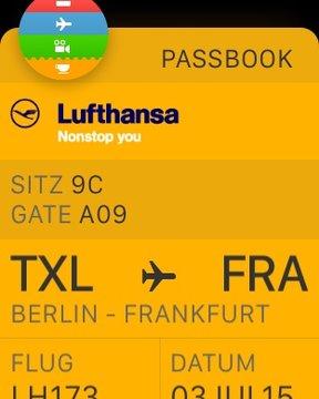 Flugticket auf der Apple Watch