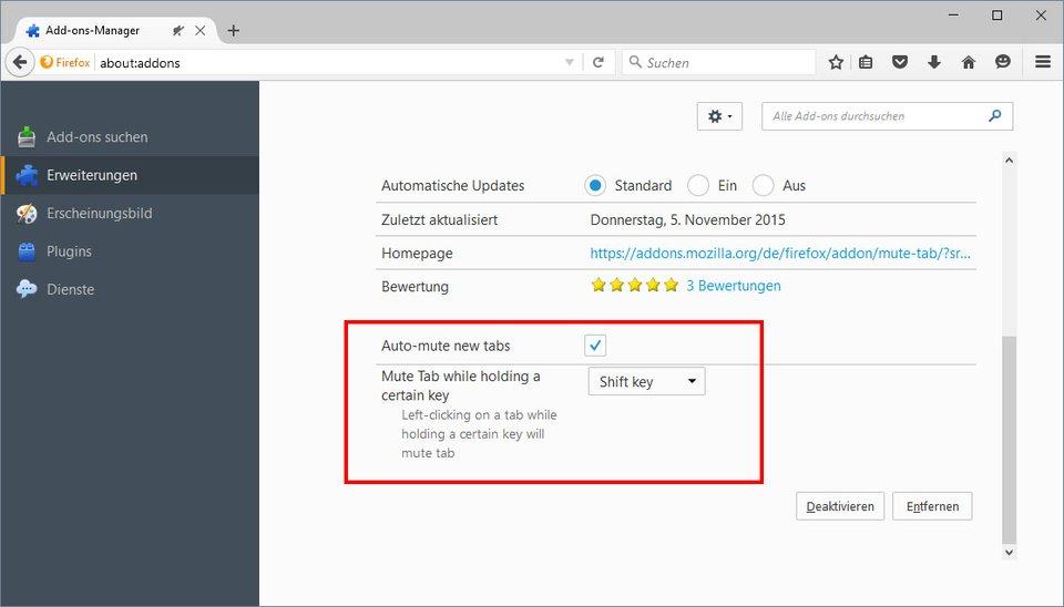 Firefox-Addon: Mit Mute Tab könnt ihr einstellen, dass neue Tabs automatisch stumm geschaltet sind.