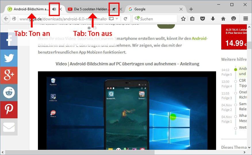 Firefox: Klickt auf das Lautsprecher-Symbol, um den Ton einzelner Tabs zu deaktivieren.