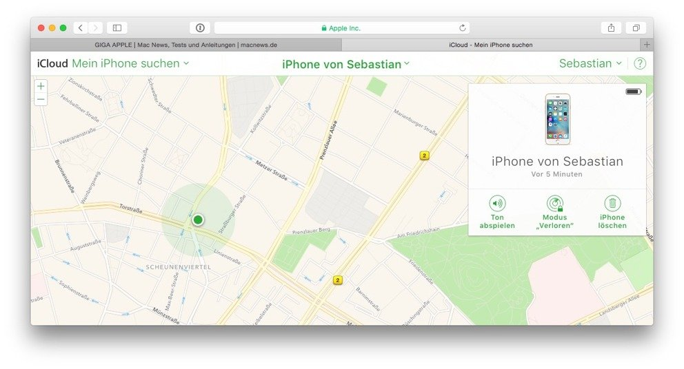 Auch iPhones lassen sich ganz einfach im Browser orten, wenn man dies denn vorher zugelassen hat.