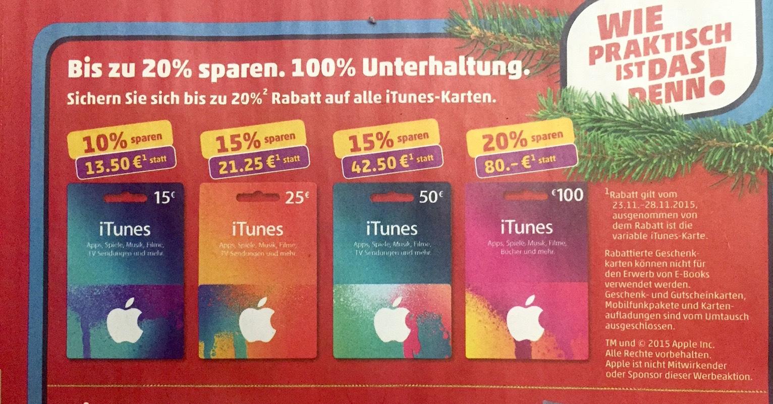 itunes karte rabatt iTunes Karten mit Rabatt im November 2015