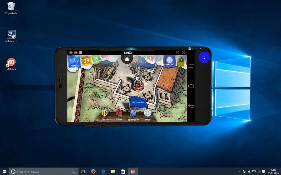Der Mobizen-Client auf dem PC dreht sich automatisch mit, wenn ihr das Smartphone quer haltet.