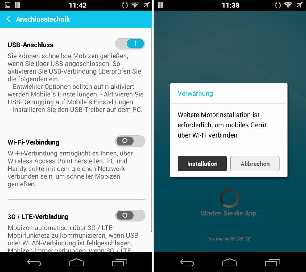 In den App-Einstellungen von Mobizen könnt ihr die Verbindungsart einstellen. Für eine WLAN-Verbindung werden weitere Software installiert.
