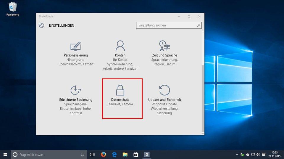 Auch in Windows 10 könnt ihr unter Datenschutz bestimmte Tracking-Einstellungen ändern.