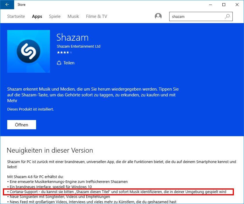 Laut App-Entwickler könnt ihr mit Shazam auch über Cortana Musik erkennen.
