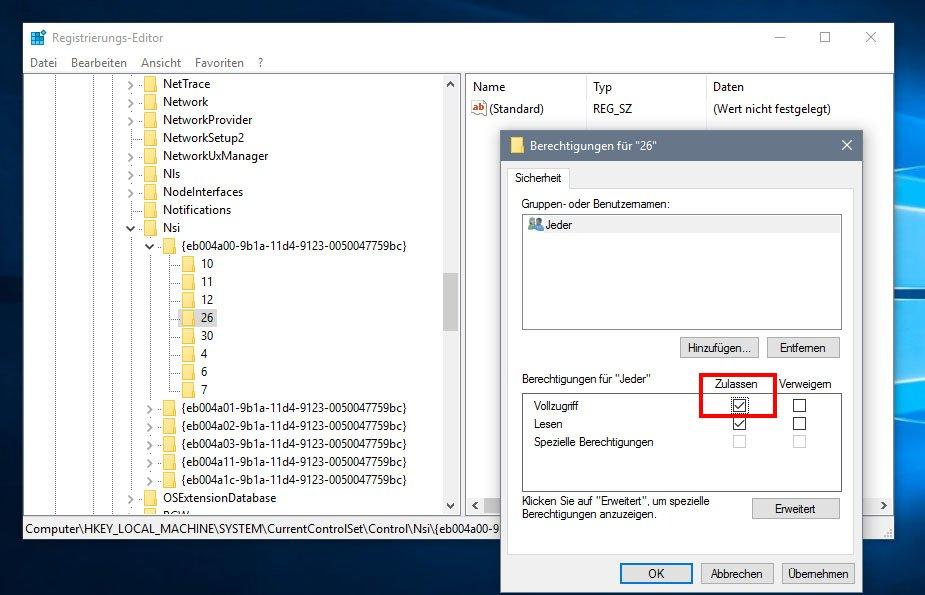 Windows 10: Das Aktivieren des Vollzugriffs kann hier zur Lösung von WLAN-Problemen beitragen.
