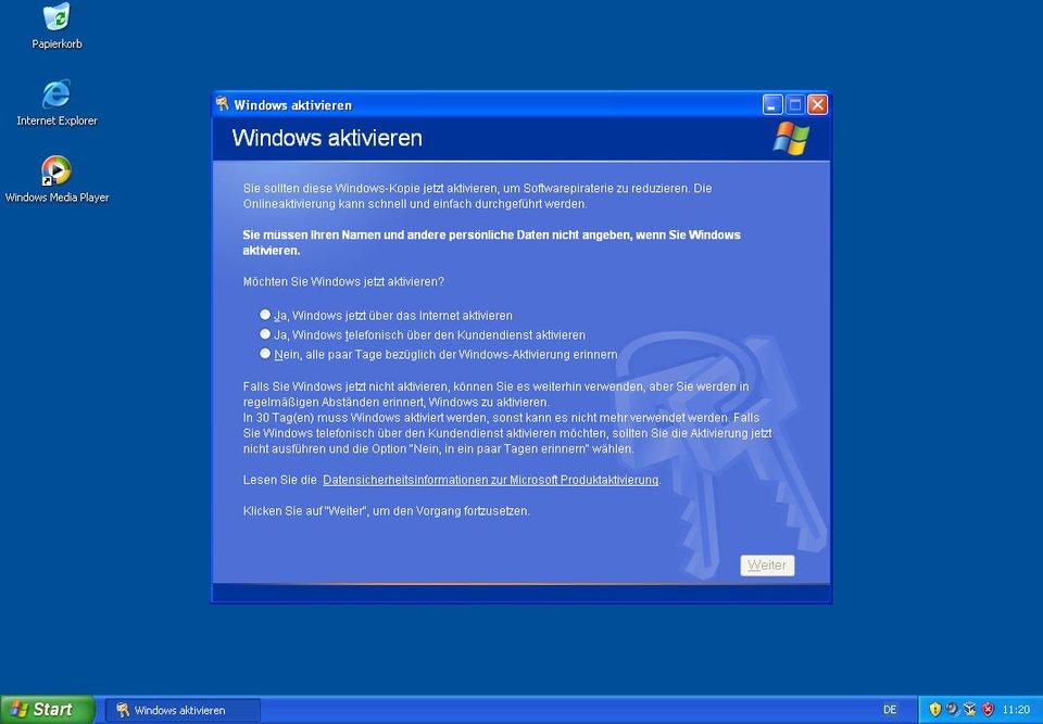 Windows XP muss innerhalb von 30 Tagen aktiviert oder erneut in Virtualbox installiert werden.