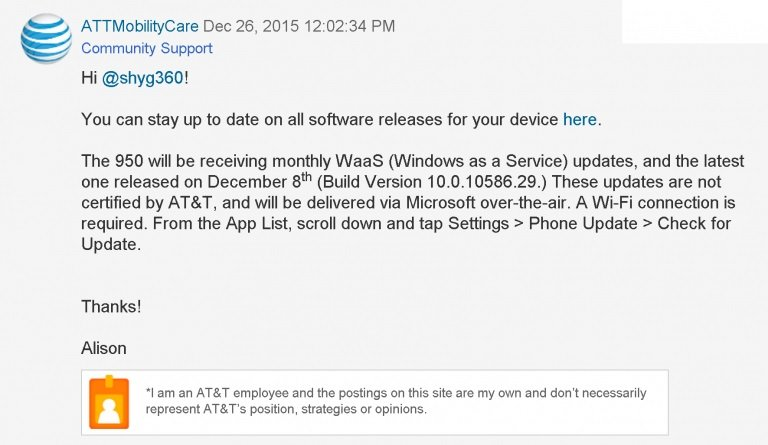 AT&T Windows as a services Updates lumia 950