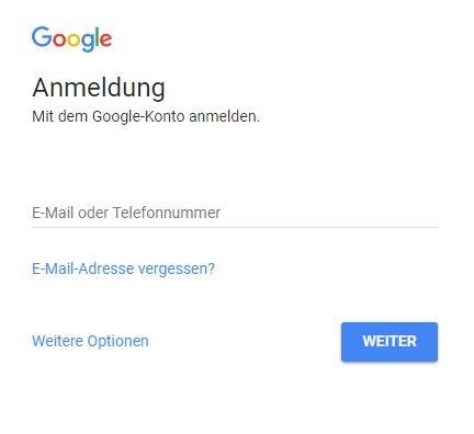 Google Login anmelden beim Account