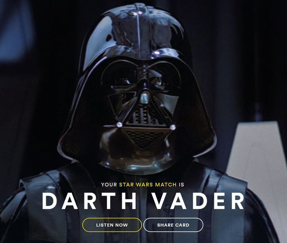 Star Wars Match Spotify Darth Vader