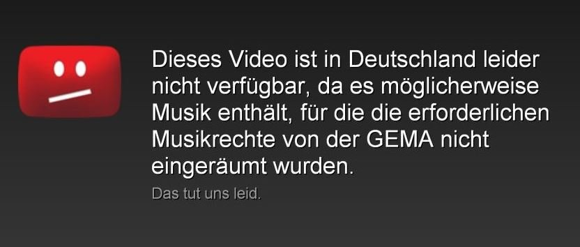 YouTube Geoblocking GEMA